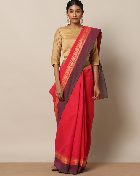 Kanchi Cotton Saree With Woven Border By Indie Picks ( Pink )