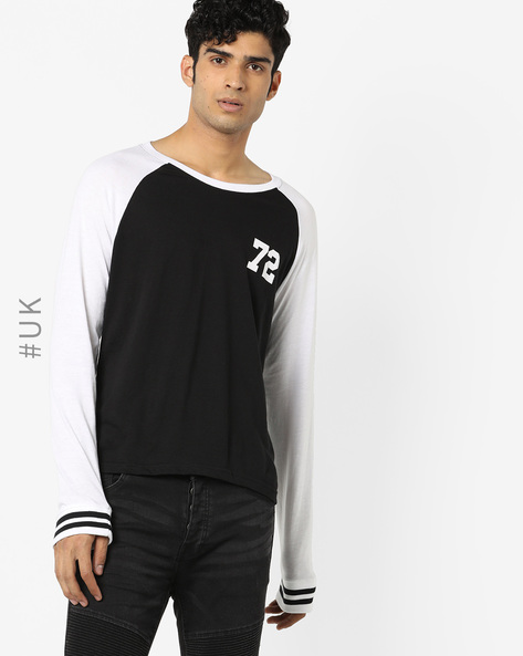 Crew-Neck T-shirt With Raglan Sleeves By BRAVE SOUL ( Black )