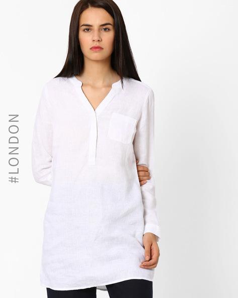 Linen Tunic By Marks & Spencer ( White )