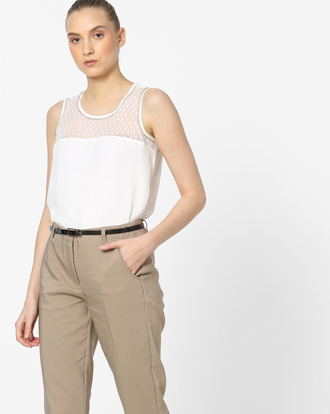 Sleeveless Sheer Top With Lace Insert By Amari West ( Offwhite )