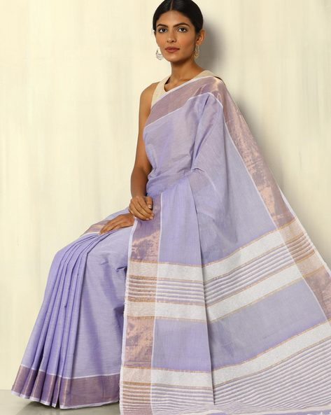 South Cotton Saree With Zari Border And Striped Pallu By Indie Picks ( Lavender )