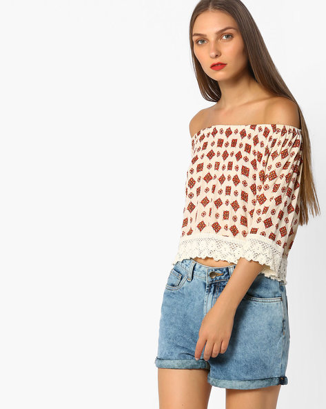 Printed Off-Shoulder Top By AJIO ( Offwhite )