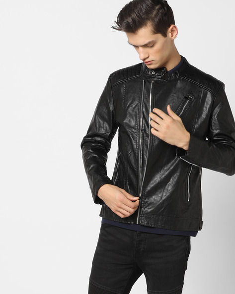 Slim Fit Biker Jacket With Zip Pockets By The Indian Garage Co ( Black )