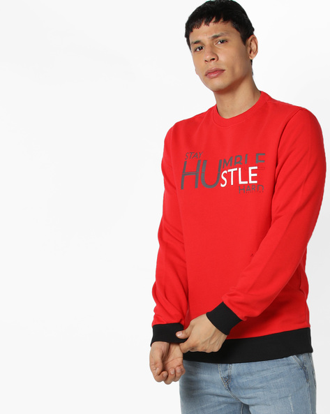Crew-Neck Sweatshirt With Contrast Hems By UNITED COLORS OF BENETTON ( Red )