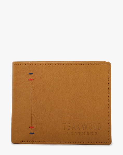 Textured Leather Bi-Fold Wallet By TEAKWOOD LEATHERS ( Tan )
