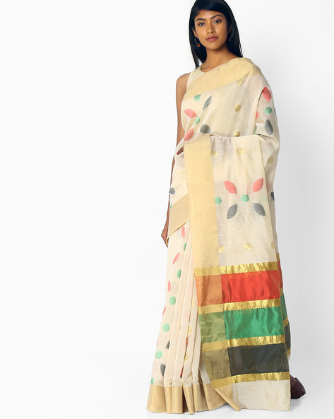Printed Saree With Zari Border By Pihu ( Nude )