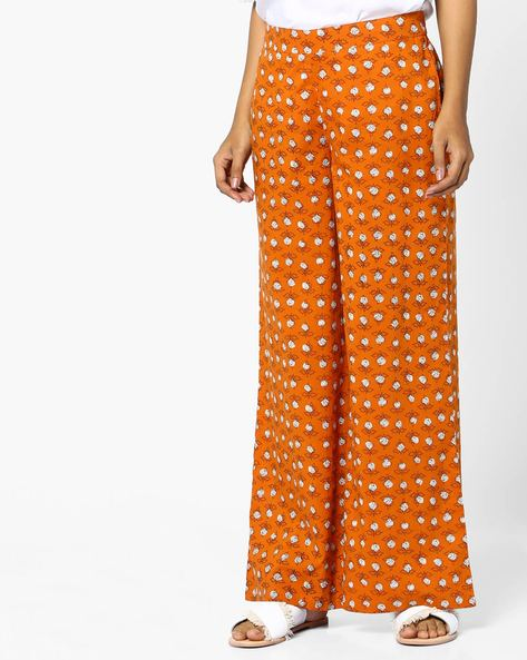 Printed Palazzos With Elasticated Waist By AJIO ( Rust )