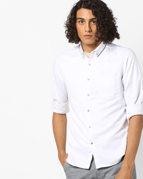 Slim Fit Polka-Dot Print Shirt By AJIO ( White )
