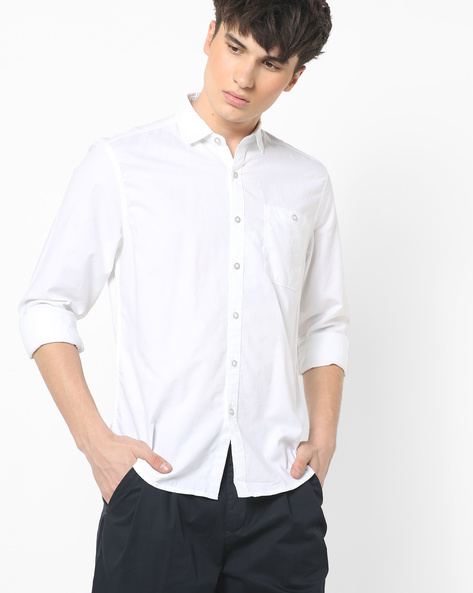 Slim Fit Shirt With Spread Collar By Lee ( White )