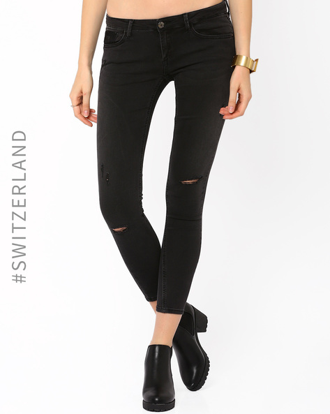 Ankle-Length Skinny-Fit Jeans By TALLY WEiJL ( Lightblue )