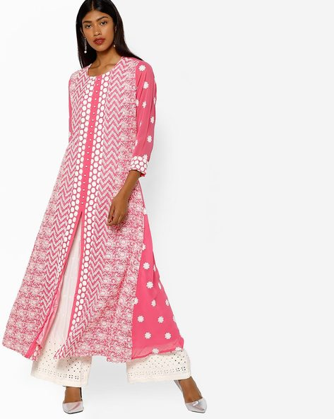 Embroidered Maxi Dress By Shree ( Pink )