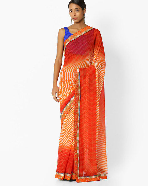 Printed Saree With Embroidery By Shonaya ( Orange )