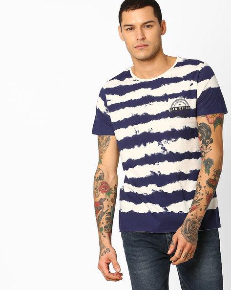 Striped Print T-shirt By AJIO ( White )