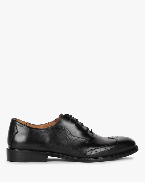 Genuine Leather Oxford Shoes By Hats Off Accessories ( Black )