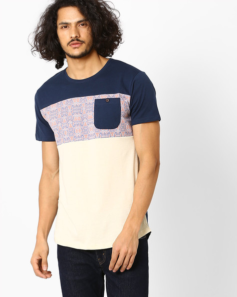 Slim Fit Colourblock T-shirt By VOI JEANS ( Blue )