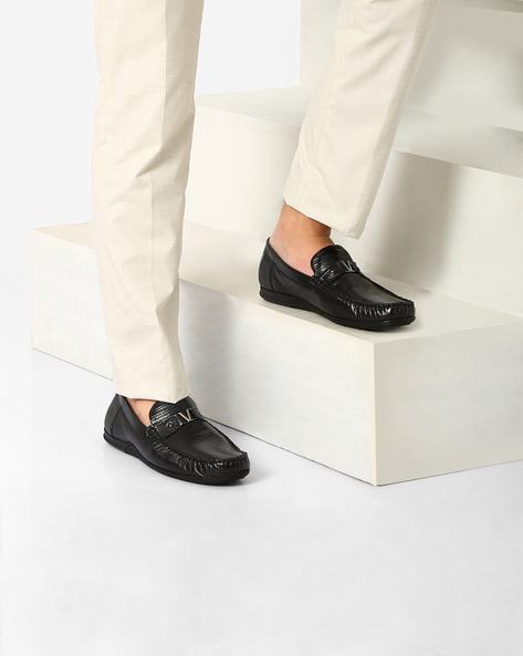 Genuine Leather Slip-Ons By VALENTINO ( Black )