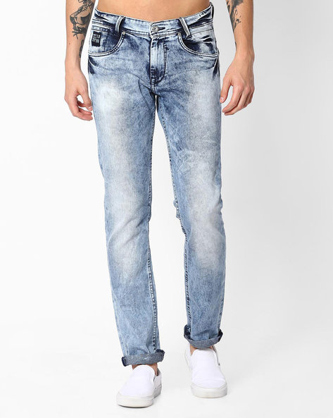 Faded Super Slim Jeans By MUFTI ( Lightblue )