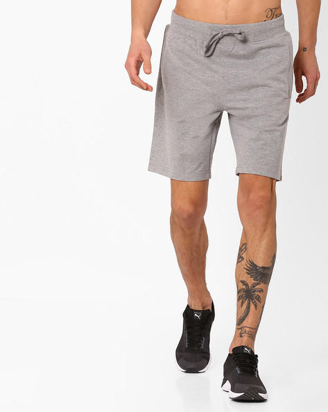 Slim Fit Shorts With Drawstring Fastening By AJIO ( Greymelange )