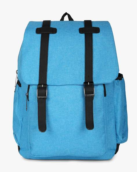 Laptop Backpack With Faux Leather Trims By AJIO ( Blue )