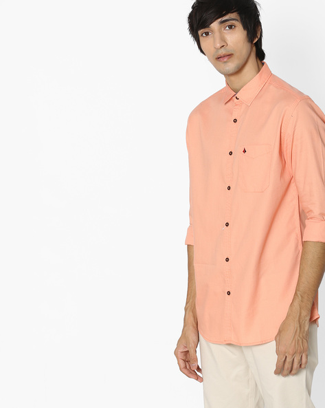 Slim Fit Shirt With Patch Pocket By British Club ( Orange )