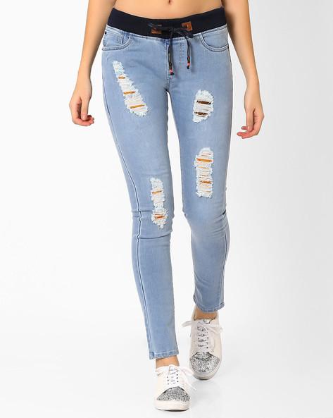 Distressed Skinny Jeans By Vajor ( Lightblue )