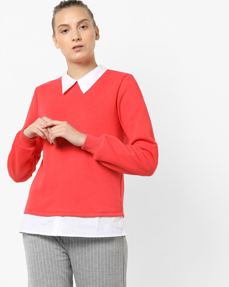 Twofer Sweatshirt With Shirt Collar By Femella ( Coral )