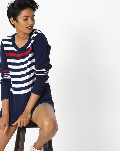 Striped Crew-Neck Pullover By Teamspirit ( Navy )
