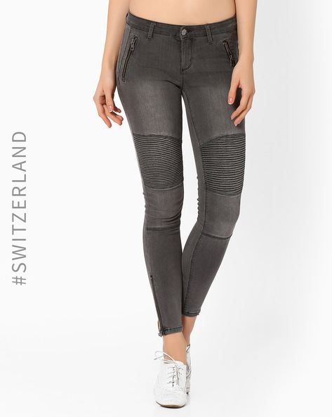 Cropped Biker Jeans By TALLY WEiJL ( Grey )