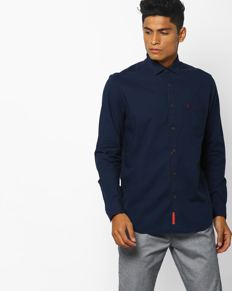 Cotton Slim Fit Shirt With Patch Pocket By British Club ( Navyblue )