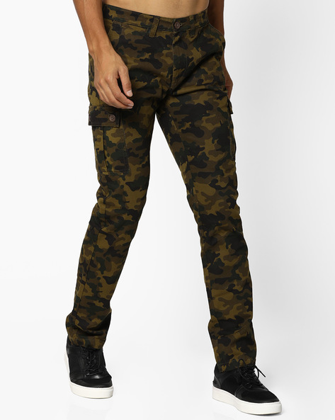 Camouflage Print Cargos With Pockets By The Indian Garage Co ( Brown )
