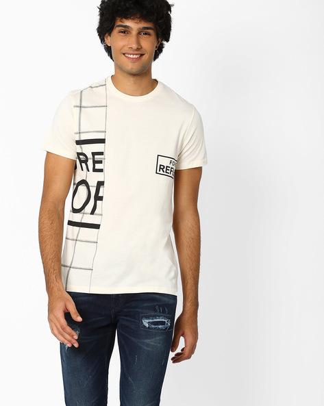 Printed Crew-Neck Slim T-shirt By AJIO ( White )