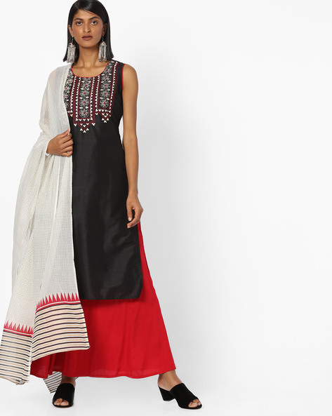 Embroidered Palazzo Kurta With Dupatta By AVAASA SET ( Black ) - 440820317001