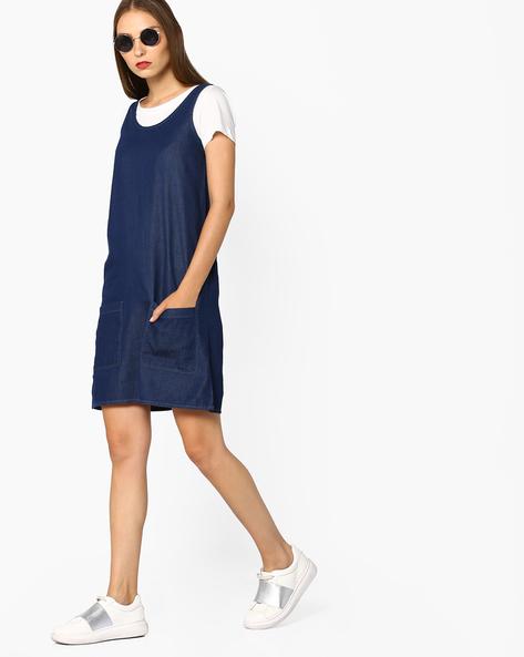 Sleeveless A-line Denim Dress By AJIO ( Blue )