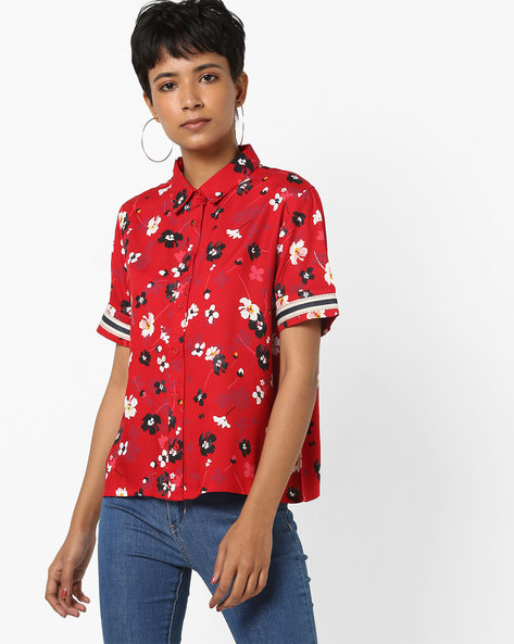 Floral Print Shirt With Short Sleeves By AJIO ( Red )