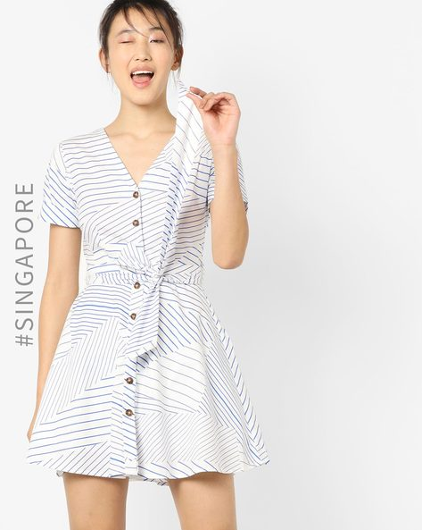 Striped Fit & Flare Dress With Waist Tie-Up By MDS ( Blue )