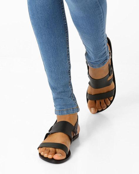 Dual Strap Flat Sandals By AJIO ( Black )