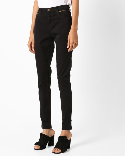 Skinny Fit Ankle-Length Trousers By Project Eve WW Casual ( Black )