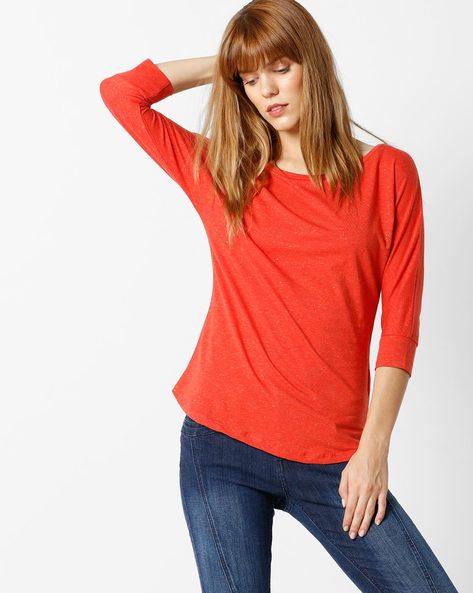 Heathered Crew-Neck T-shirt By FIG ( Dkpurple )