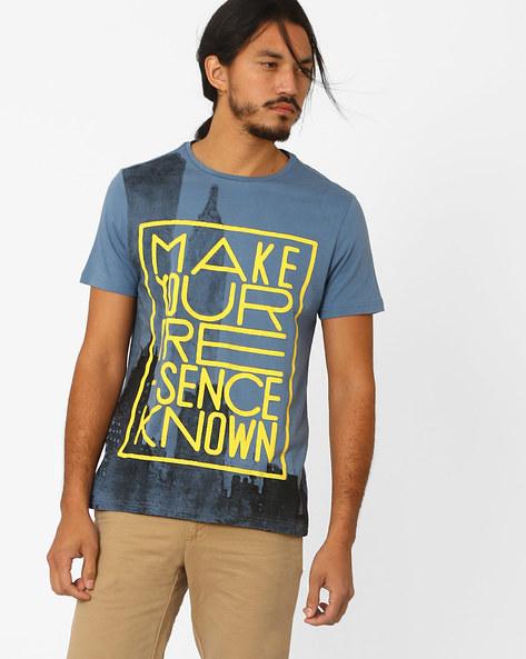Graphic Print Crew-Neck T-shirt By AJIO ( Blue ) - 460021686009