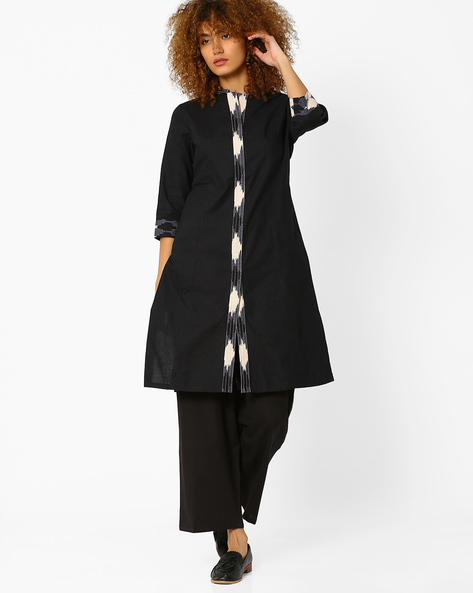 Cotton Kurta With Mandarin Collar By AJIO ( Black )