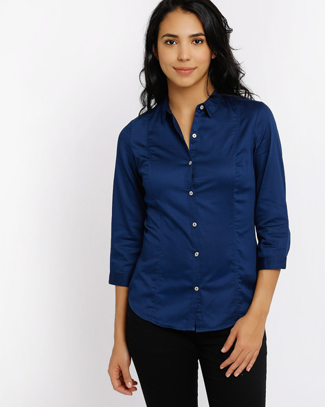Panelled Shirt By Annabelle By Pantaloons ( Blue )