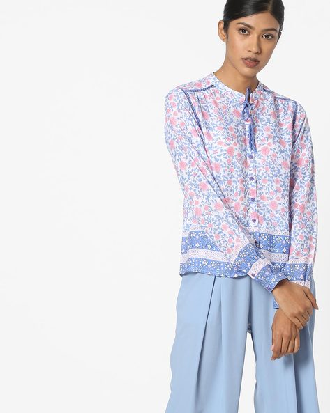 Floral Print Shirt With Tie-Up By Pepe Jeans ( Blue )
