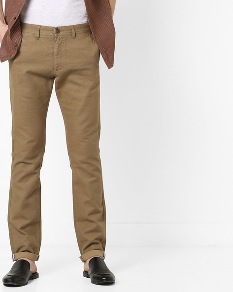 Tapered Fit Textured Chinos By NETPLAY ( Khaki )