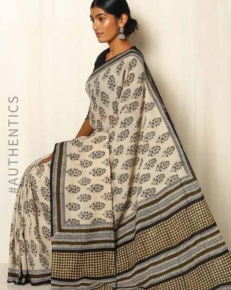 Bagru Handblock Print Cotton Saree By Indie Picks ( Grey )