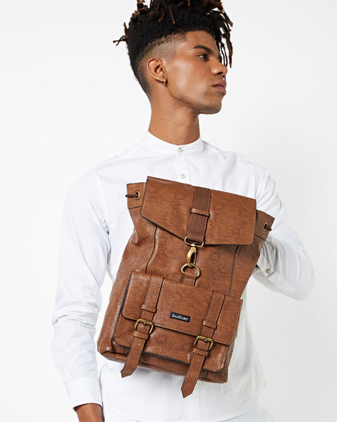 Textured Backpack With Flap Closure By BAD HABIT ( Tan )