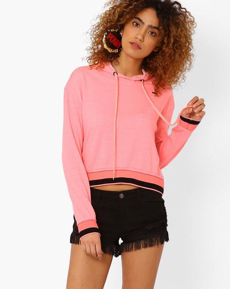 Short Sweatshirt With Drawstring Hood By TEAM SPIRIT ( Ltpink )