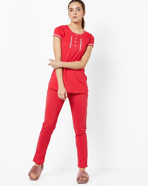Top With Polka-Dot Print Pyjamas By Sweet Dreams ( Red )