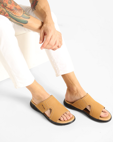 Genuine Leather Slippers With Cut-Outs By RED CHIEF ( Brown ) - 460143603005