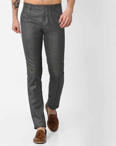 Slim Fit Formal Trousers By British Club ( Darkgrey )