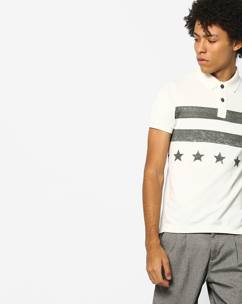 Printed Polo T-shirt With Vented Hem By US POLO ( Ivory )
